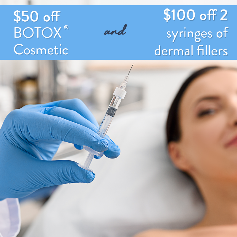 Woman excited to receive $50 off BOTOX® Cosmetic and $100 off 2 syringes of dermal fillers during September Specials.